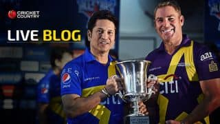 Warriors 141/4 in 17.2 overs | Live Cricket Score, Sachin's Blasters vs Warne's Warriors, Cricket All-Stars 2015, 1st T20:  Warne's Warriors win game