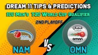Dream11 Team Namibia vs Oman ICC Men's T20 World Cup Qualifier 2019 – Cricket Prediction Tips For Today's T20 2nd Playoff NAM vs OMN at Dubai October 29