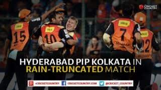 Sunrisers Hyderabad trump Kolkata Knight Riders in rain-affected IPL 2015 Match No. 19 at Hyderabad