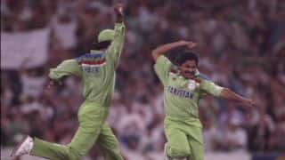 World Cup 1992 — Mushtaq Ahmed waggles his thumbs at Dermot Reeve
