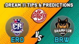 Dream11 Team Edmonton Royals vs Brampton Wolves Match 6 GT20 CANADA 2019 GLOBAL T20 CANADA – Cricket Prediction Tips For Today's T20 Match ERO vs BRW at Brampton