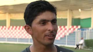 UAE keeper Saqlain Haider keeps wicket for Australia