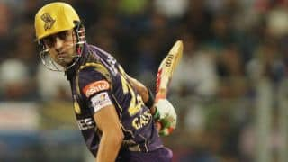 Gautam Gambhir dismissed for 1 by Chris Morris against Rajasthan Royals in IPL 2015