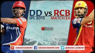 Live Cricket Score Delhi Daredevils vs Royal Challengers Bangalore, IPL 2015 Match 26 at Delhi, RCB 99/0 in 10.3 overs: RCB thrash DD by 10 wickets