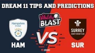 Dream11 Team Hampshire vs Surrey South Group VITALITY T20 BLAST ENGLISH T20 BLAST – Cricket Prediction Tips For Today's T20 Match HAM vs SUR at Southampton