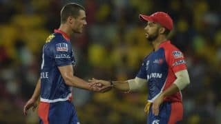 Suryakumar Yadav dismissed for 24 by Nathan Coulter-Nile against Delhi Daredevils in IPL 2015