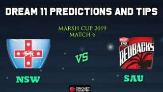 Dream11 Team New South Wales vs South Australia, Match 6 Marsh One-Day Cup 2019 Australian ODD – Cricket Prediction Tips For Today's Match NSW vs SAU at Brisbane