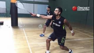 Photo: Virat Kohli, Harbhajan Singh, other teammates play badminton together