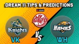 Dream11 Team Vancouver Knights vs Winnipeg Hawks MATCH 17 Global T20 Canada – Cricket Prediction Tips For Today's T20 Match VK vs WH at Ontario