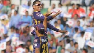 Sunil Narine becomes joint-leading wicket-taker in IPL 2014; dismisses Yuvraj Singh, AB de Villiers