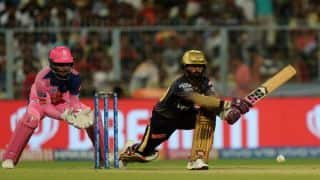 KKR vs RR LIVE: 2nd Strategic time-out update - Dinesh Karthik helps Kolkata Knight Riders to 96/4 in 14 overs vs Rajasthan Royals