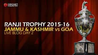 J&K 43/2 | Live cricket score, Jammu & Kashmir vs Goa, Ranji Trophy 2015-16, Group C match, Day 2 at Jammu: Stumps