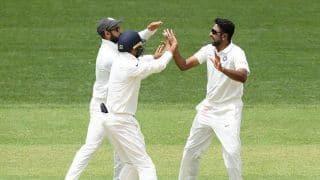 1st Test: R Ashwin gets big wicket of Aaron Finch, Australia 28/1 at tea