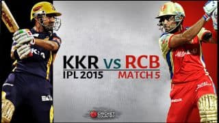 Live Cricket Score, KKR vs RCB, IPL 2015, Match 4 at Chennai: RCB win by 3 wickets.