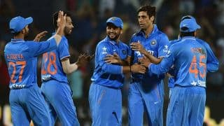 Mohammad Mithun dismissed for 1 by Ashish Nehra against India in 1st T20I at Asia Cup T20 2016