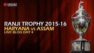 ASSAM 160/4 | Live cricket score, Haryana vs Assam, Ranji Trophy 2015-16, Group A match, Day 4 at Lahli, Rohtak: Visitors win by 6 wickets