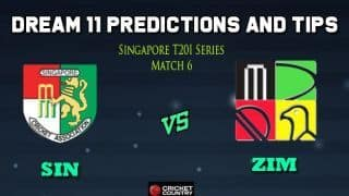SIN vs ZIM Dream11 Team Singapore vs Zimbabwe, 6th T20I, Singapore Twenty20 Tri-Series 2019 – Cricket Prediction Tips For Today's Match SIN vs ZIM at Singapore