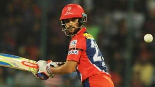 JP Duminy dismissed for 12 by Karn Sharma against Sunrisers Hyderabad in IPL 2015