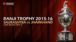 SAU 86/2 I Live Cricket Score, Saurashtra vs Jharkhand, Ranji Trophy 2015-16, Group C match, Day 2 at Rajkot: Saurashtra win by eight wickets