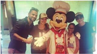 Shikhar Dhawan's wife Aesha and kids stopped by Emirates Airlines at Dubai airport
