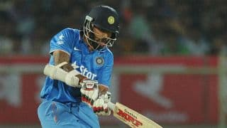 Shikhar Dhawan dismissed for 1 by Nathan McCullum against New Zealand in T20 World Cup 2016 at Nagpur