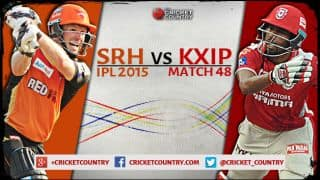 Live Cricket Score Sunrisers Hyderabad vs Kings XI Punjab IPL 2015, Match 48 at Hyderabad, KXIP 180/7 in 20 overs: SRH win by 5 runs