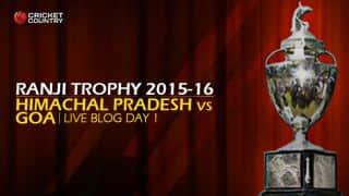 GOA 265/7   Live cricket score, Himachal Pradesh vs Goa, Ranji Trophy 2015-16, Group C match, Day 1 at Dharamsala: Stumps