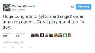 Michael Clarke congratulates Kumar Sangakkara on fine cricket career