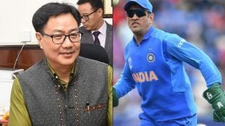 Kiren Rijiju wants BCCI Should stand with MS Dhoni on controversy related to Insignia on gloves