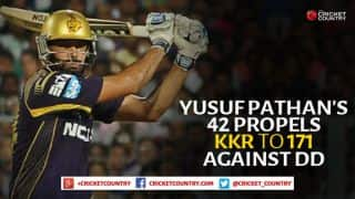Yusuf Pathan's quickfire 42 propels Kolkata Knight Riders to 171 against Delhi Daredevils