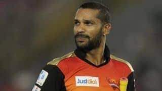 Shikhar Dhawan dismissed by James Faulkner after scoring half-century against Rajasthan Royals in IPL 2015