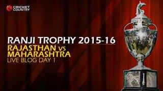 RAJ 258/5   Live cricket score, Rajasthan vs Maharashtra, Ranji Trophy 2015-16, Group A match, Day 1 at Jaipur: Stumps