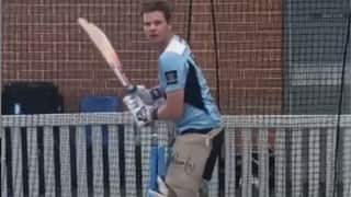 Video: Steve Smith back in nets after elbow surgery; Great to have my first hit back.