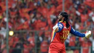 IPL 2015: Chris Gayle celebrates his 5th IPL century in Cristiano Ronaldo style