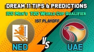 Dream11 Team Netherlands vs United Arab Emirates ICC Men's T20 World Cup Qualifier 2019 – Cricket Prediction Tips For Today's T20 1st Playoff NED vs UAE at Dubai October 29
