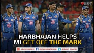 Lendl Simmons, Harbhajan Singh help Mumbai Indians beat Royal Challengers Bangalore by 18 runs to get off the mark in IPL 2015
