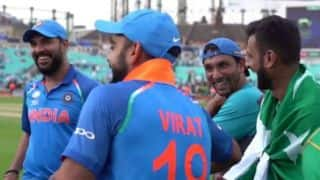 Indian and Pakistani players sharing a laugh after Champions Trophy Final is ICC's most shared moment of 2017