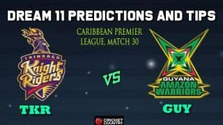 Dream11 Team Trinbago Knight Riders vs Guyana Amazon Warriors Match 30 Caribbean Premier League 2019 – Cricket Prediction Tips For Today's T20 Match TKR vs GUY at Barbados