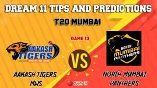 Dream11 Prediction: at vs NMP Team Best Players to Pick for Today's Match between Aakash Tigers MWS and North Mumbai Panthers at 3:30 PM