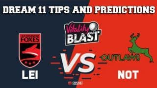 Dream11 Team Leicestershire vs Nottinghamshire Match T20 BLAST 2019 2019 T20 Blast – Cricket Prediction Tips For Today's T20 Match LEI vs NOT at Leicester