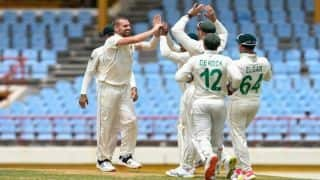 wi vs sa test west indies bowled out for just 97 as lungi ngidi and nortje shines