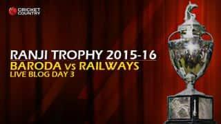 RAILWAYS 221 I Live cricket score, Baroda vs Railways Ranji Trophy 2015-16, Group B match, Day 3 at Vadodara: Baroda win by an innings and 113 Runs