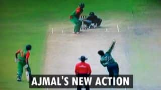 Saeed Ajmal's new bowling action: More round-arm, with a much straighter elbow