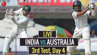Live Cricket Score, India vs Australia 2016-17, 3rd Test, Day 4: Jadeja removes Warner, Lyon