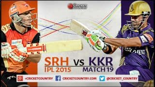 Live Cricket Score, Sunrisers Hyderabad vs Kolkata Knight Riders, IPL 2015, Match 19:  SRH emerge victorious