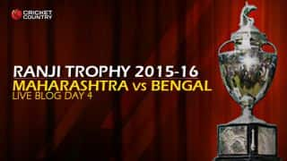 BEN 100/1   Live Cricket Score, Maharashtra vs Bengal, Ranji Trophy 2015-16, Group A match, Day 4 at Pune; Match ends in a draw