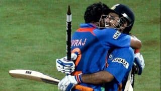 Watch MS Dhoni's brotherly hug to Yuvraj Singh on his wedding reception