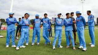 India Under-19 cricket team seen cheering for India hockey team against Japan