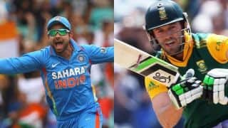 India vs South Africa, 11th Match: Virat Kohli and AB De Villiers admire each other before Match