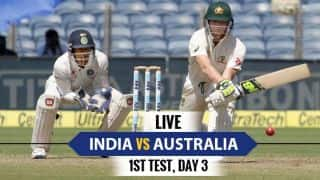 LIVE Cricket Score India vs Australia 2016-17, 1st Test, Day 3: Jadeja removes Marsh but AUS ahead